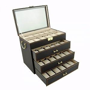 Vitrine pour 48 montres en brun