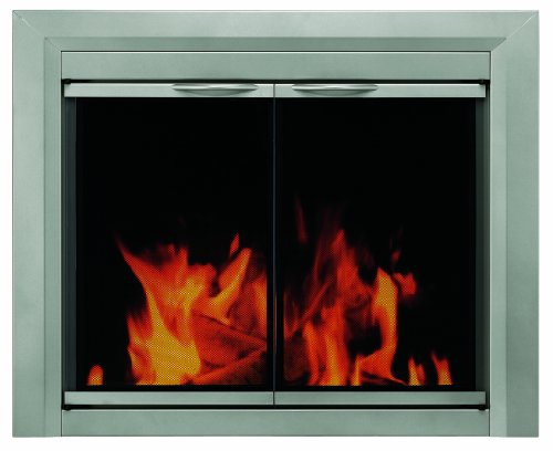 Pleasant Hearth CB-3300 Colby Fireplace Glass Door, Sunlight Nickel, Small (Tempered Glass Cabinet Doors compare prices)