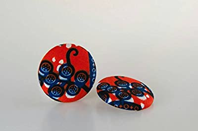 "Fabric button earrings (1 7/8""), African fabric button earrings, Ankara fabric button earrings, Fabric Earrings, Button earrings (Luna)"