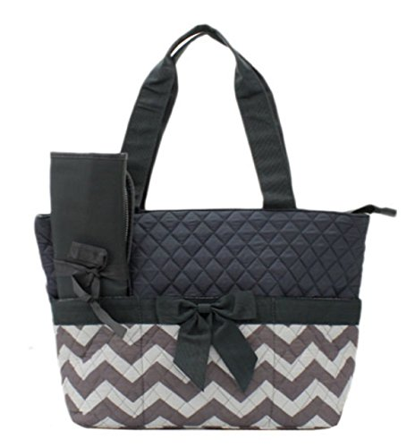 Quilted Black And Grey/White Chevron Print 3 Piece Diaper Bag With Changing Pad