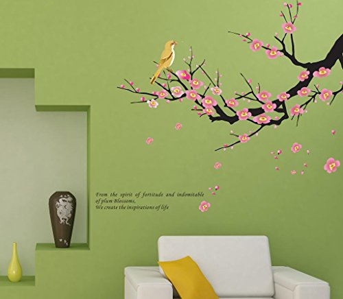 Apexshell (Tm) Spirit Of Life Quote Pink Wintersweet Flowers With Birds Removable High Quality Decorate Wall Decal Sticker Decor For Kids, Home, Nursery Room, For Children'S Bedroom front-442157