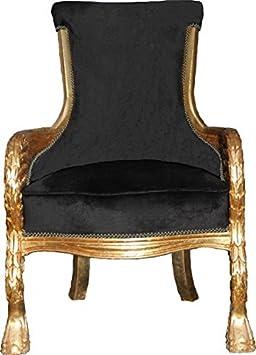 Casa Padrino Barock Lounge Sessel Black / Gold Mod2 Möbel Antik Stil - Wohnzimmer Club Möbel Sessel