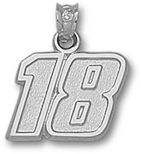 Kyle Busch Medium Driver Number 18 1 2 Pendant - Sterling Silver Jewelry by Logo Art