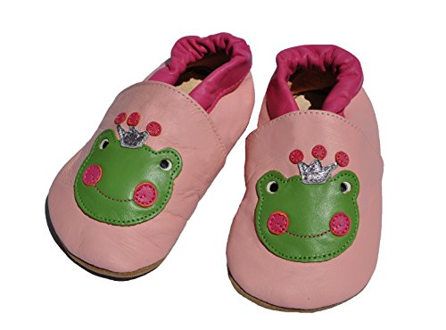 Tipsie Toes Baby Girl First Walker Soft Sole Genuine Leather Shoes - Frog with Crown (12-18 Month - 128)