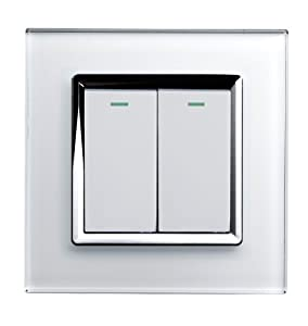 Retrotouch Crystal 2-Gang 2-Way 10A Light Switch White Glass with Chrome Trim by Retrotouch