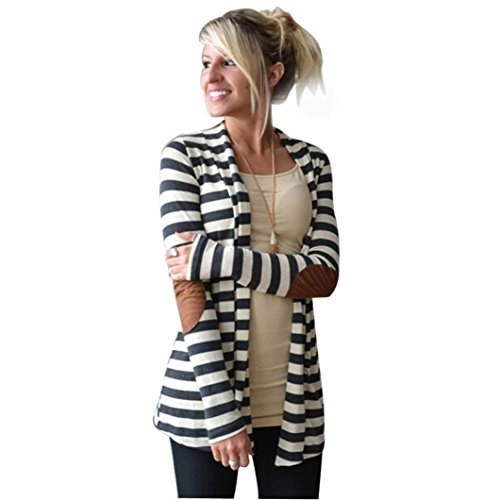 Gillberry Women Cotton Casual Long Sleeve Jacket Striped Coat Cardigans Outwear (L, White)