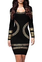 Miusol® Women's Cut out Long Sleeves Kim Egypt Gold Foil Print Cocktail Dress