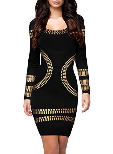 Miusol Women's Cut out Long Sleeves Kim Egypt Gold Foil Print Cocktail Dress Black XL