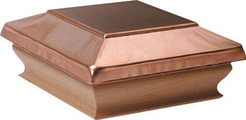 Woodway Products 870.1387 4-by-4-Inch Large Cedar Flat Top Post Cap, 12-Pack, Cedar/Copper