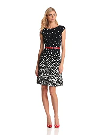 Anne Klein Women's Ombre Dot Swing Dress, Midnight/Ivory, 6