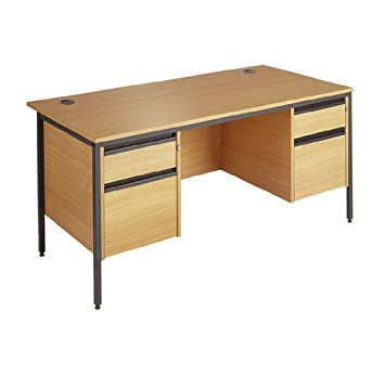 Straight H frame desk - 1 x 2 drawer and 1 x 3 drawer fixed pedestals