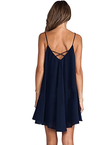 Marolaya Womens Plain Sleeveless Strappy Swing Dress
