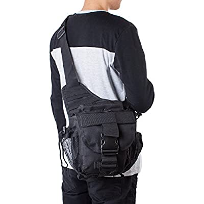 S-ZONE 600D Polyester Molle Tactical Shoulder Strap Bag Military Push Pack Belt Pouch Travel Backpack Camera Money Utility Bag Waist Bum Day Pack Versipack from S-ZONE