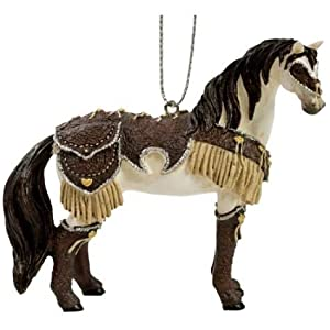2.5 Inch Hand Painted Resin Western Leather Saddled Horse Ornament