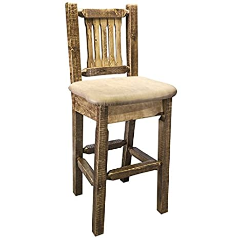 Homestead Barstool with Upholstered Buckskin Pattern Seat