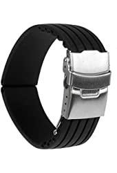 Mokingtop® New 22mm Waterproof Silicone Rubber Watch Strap Band Deployment Buckle