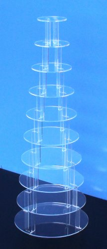 10 Tier 5mm Thick Circle Cupcake Wedding Fairy Cup Cake Acrylic Favour Display Stand by Classikool®