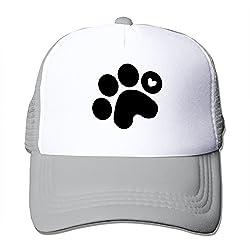Long5ZG Unisex Adjustable Dog Paw Prints Snapback Cap Trucker Hat / Headwear Black
