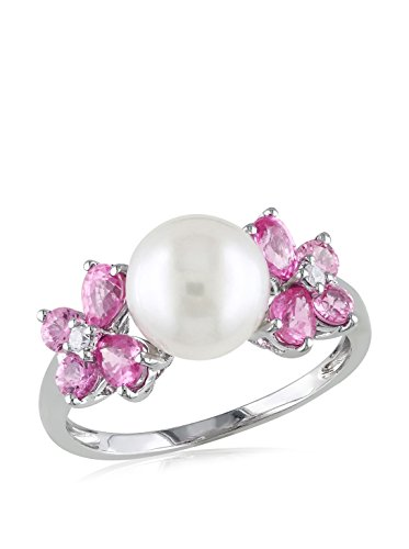 Michiko 10K White Gold Freshwater Cultured Pearl, Pink Sapphire & 0.03-Ct. Diamond Ring