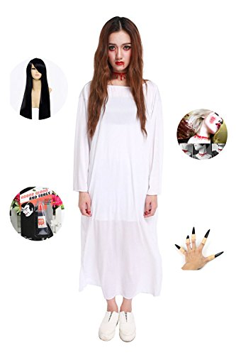 [Absolutly Perfect Sadako Halloween Super Horror Scary Cosplay Costume Dress White with Black Hair One] (Scary Bee Costume)