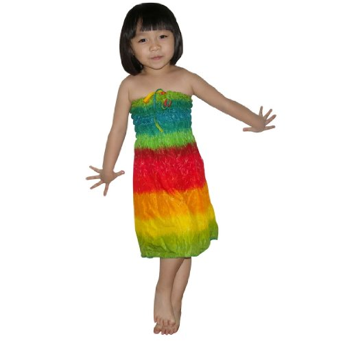 Baby Girls Thai Exotic Gathered / Smocked Bodice Flowing Strapless Summer Dress - Size: 5