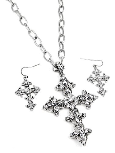 Antique Silver Tone Clear Rhinestone Cross Pendant Necklace and Earrings Set Fashion Jewelry