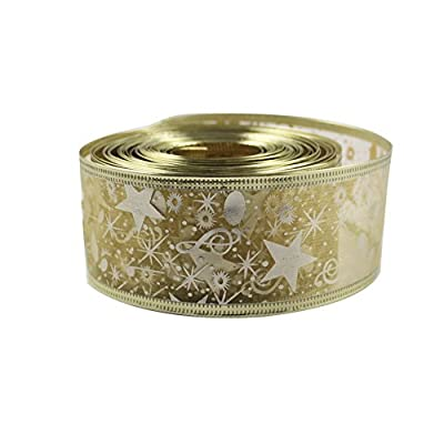 OurWarm® Printing Ribbon Swirl Wired Sheer Glitter Ribbon 10Y Gold