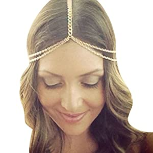 Suppion Women Fashion Metal Head Chain Jewelry Headband Head Piece Hair Band