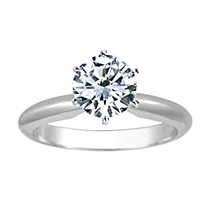 1/2 Carat Round Cut Diamond Solitaire Engagement Ring Platinum 6 Prong (F-G, I1, 0.5 c.t.w) Ideal Cut