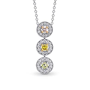 0.45Cts Mix Diamond Drop Pendant Necklace Set in 18K