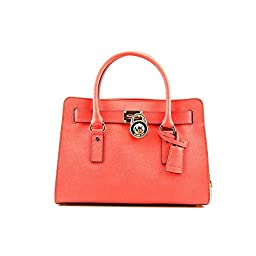Michael Kors Hamilton E/W Saffiano Satchel Handbag (One Size, Watermelon)