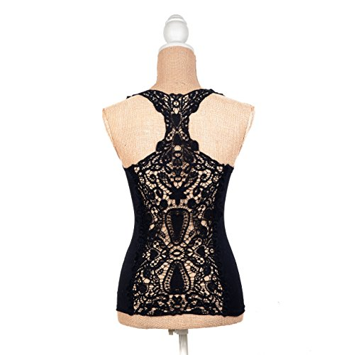 ILOVEDIY Black Sexy Lace Vest Tops Cami Sleeveless Tank Tops for Women