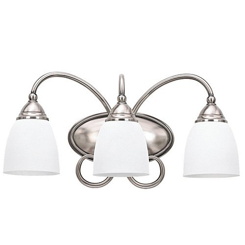Sea Gull Lighting 44106-965 Monteclaire Collection Three-Light Vanity, Antique Brushed Nickel Finish With Etched White Alabaster Glass