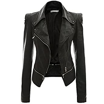 LuShmily Womens Winter Faux Leather Power Shoulder Jacket