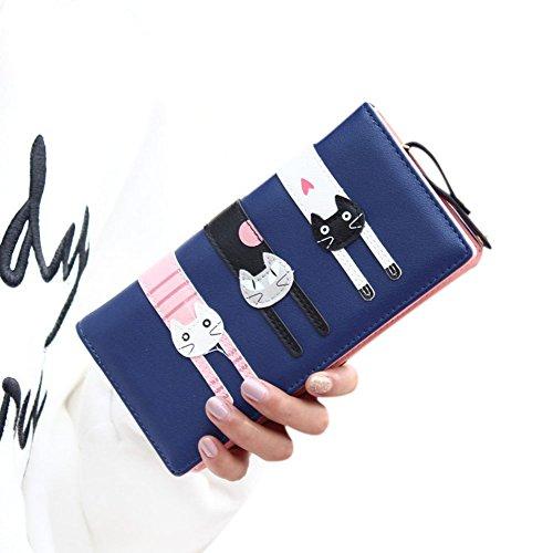 Cute Cat borsa del portafoglio Bifold da donna Coface con la chiusura lampo