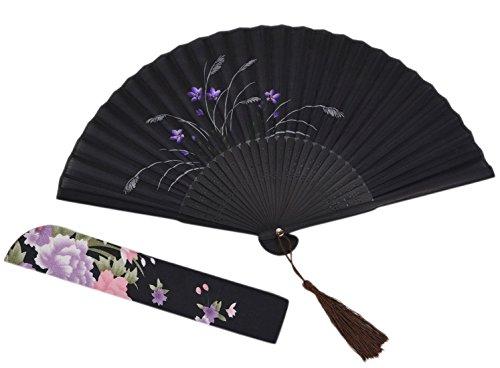 Amajiji Chinese Japanese Folding Hand Fan for women,Vintage Retro Style 8.27