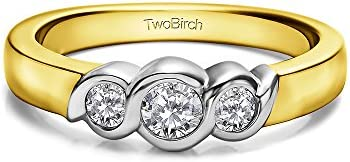 14k Gold Bypass Inspired Bezel Set Wedding Band with White Sapphire 034 ct twt