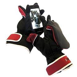 【ISGlovesアウトドア用スマホ手袋】ミトン型アウター部+5本指全てタッチ可インナー部の二重構造(Red)