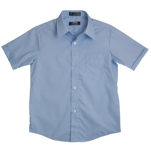 French Toast School Uniforms Short Sleeve Dress Shirt With Expandable Collar Boys Blue 2T front-229929