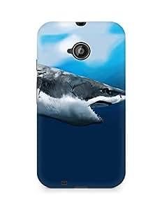 Amez designer printed 3d premium high quality back case cover for Motorola Moto E2 (Maw shark art under the water hunger profile)