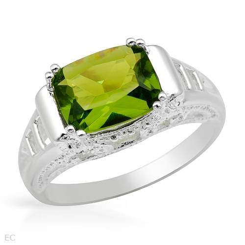Cocktail Ring With Simulated gems in 925 Sterling silver (Size 8)
