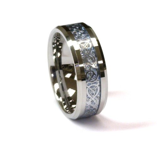 8Mm Silver Celtic Dragon Tungsten Carbide Ring Men Jewelry Wedding Band Size 10