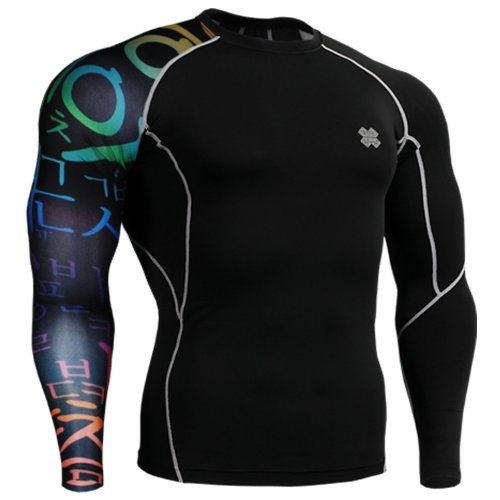 Fixgear Mens Womens Skin Under Baselayer Running Tight Tee Shirt Black