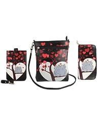 Combo Offer Of Designer Sling Bag + Wallet + Mobile Sling Bag Black Printed Stylish Purses For Girls, Womens,...