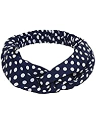 Hair Accessories For Women And Girls Navy Satin Polka Turban Headband