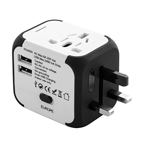 Todo en Uno Adaptador de Enchufes Adaptador Cargador Universal para Viaje EU, US, UK, AU con 2 Puertos de USB de Carga 5V 2.4A Compatibles en Más de 150 Países (Blanco) -Duomishu