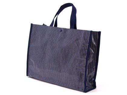 おしゃれKidsのプールバッグ・ラミネートバッグ(スクエアタイプ)【ピンストライプ・インディゴ】 日本製 N0334300
