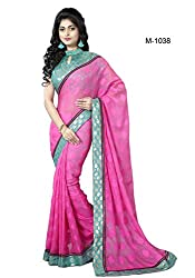 Sk Creation Sizzling Pink Lace Embroidered Party Wear Saree