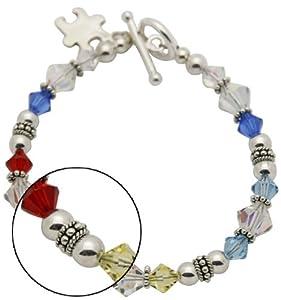 Autism Swarovski Crystal and Sterling Silver Bracelet