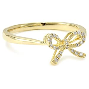 gold bow ring with diamonds